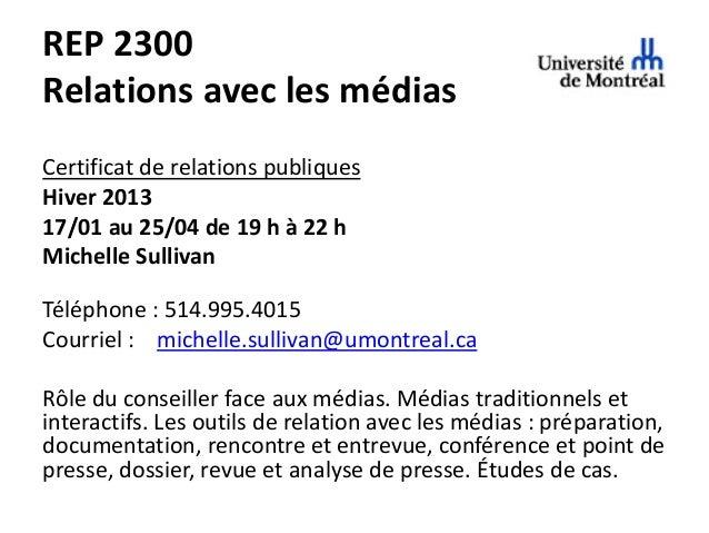 Université de Montréal REP2300 - Cours 4 - 2013