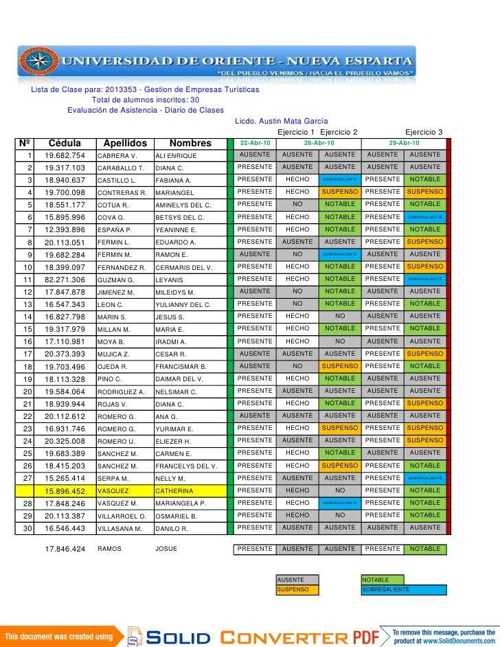 Lista de Clase para: 2013353 - Gestion de Empresas Turísticas                       Total de alumnos inscritos: 30        ...