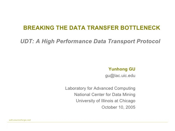 BREAKING THE DATA TRANSFER BOTTLENECK Yunhong GU [email_address] Laboratory for Advanced Computing National Center for Dat...