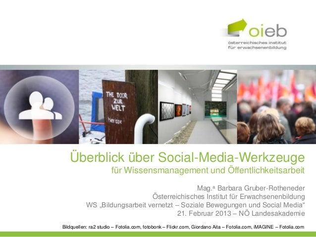 Überblick über Social-Media-Werkzeuge                      für Wissensmanagement und Öffentlichkeitsarbeit                ...