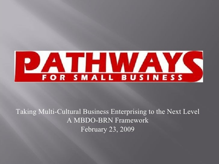 Taking Multi-Cultural Business Enterprising to the Next Level A MBDO-BRN Framework February 23, 2009