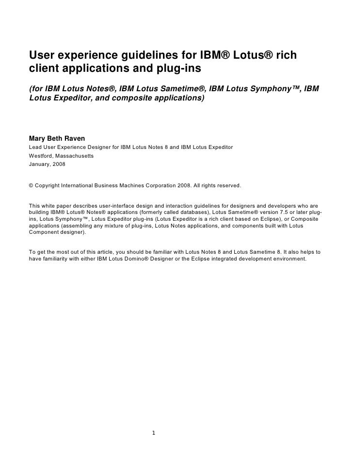 User experience guidelines for IBM® Lotus® richclient applications and plug-ins(for IBM Lotus Notes®, IBM Lotus Sametime®,...
