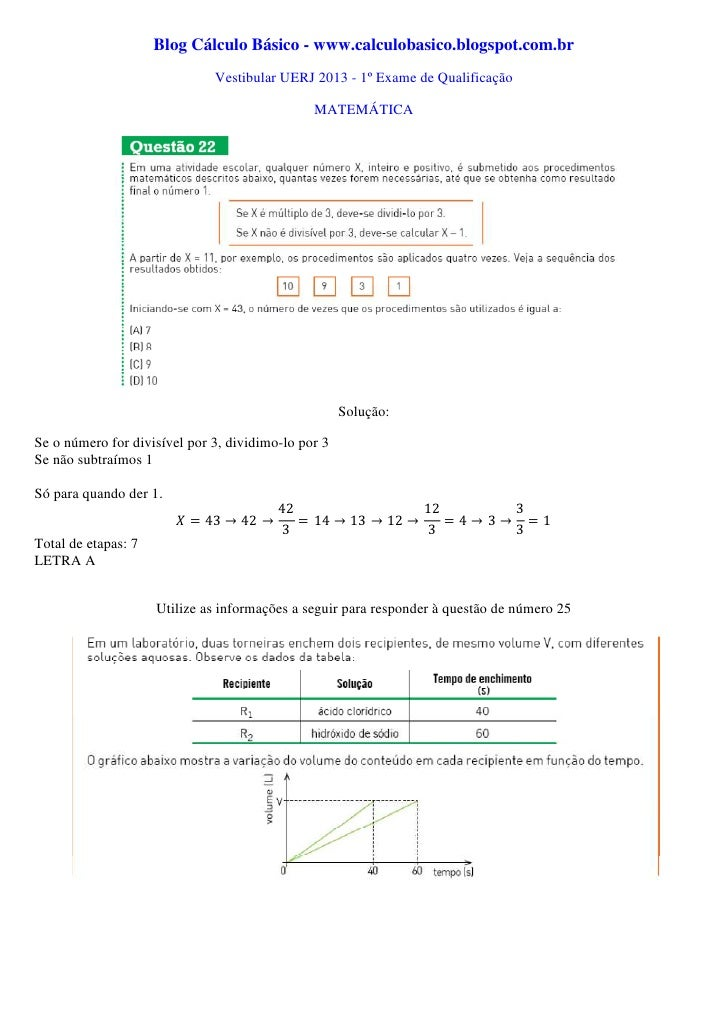 Blog Cálculo Básico - www.calculobasico.blogspot.com.br                              Vestibular UERJ 2013 - 1º Exame de Qu...