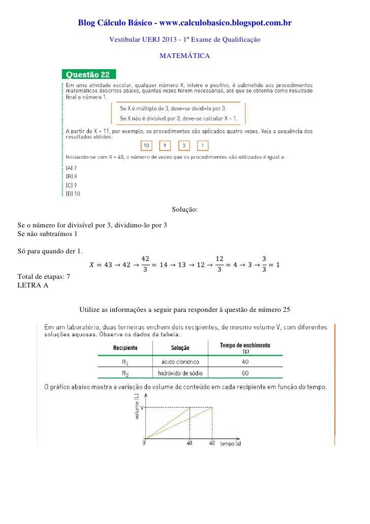 Vestibular UERJ 2013 - 1º exame de qualificação