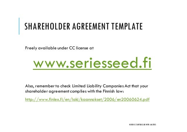 shareholder agreement template freely available under cc license at