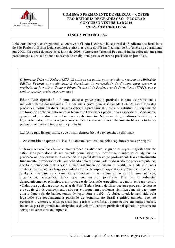 COMISSÃO PERMANENTE DE SELEÇÃO – COPESE                                      PRÓ-REITORIA DE GRADUAÇÃO – PROGRAD          ...