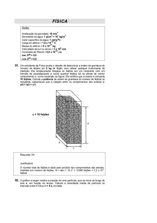 FÍSICA Dados: 2  Aceleração da gravidade: 10 m/s 3 Densidade da água: 1 g/cm3 = 103 kg/m Calor específico da água: 1 cal/g...