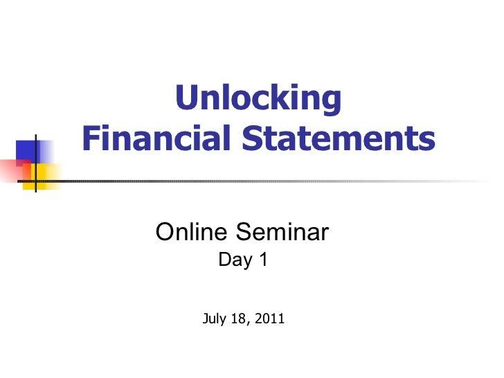 Unlocking Financial Statements - Day 1