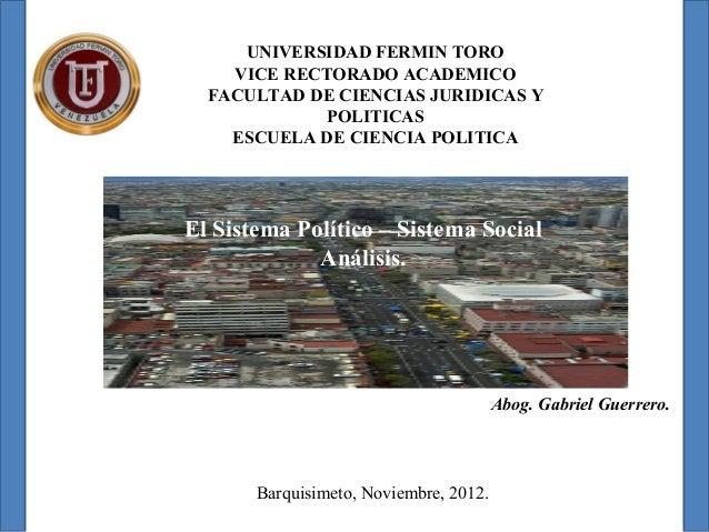 UNIVERSIDAD FERMIN TORO    VICE RECTORADO ACADEMICO  FACULTAD DE CIENCIAS JURIDICAS Y             POLITICAS    ESCUELA DE ...