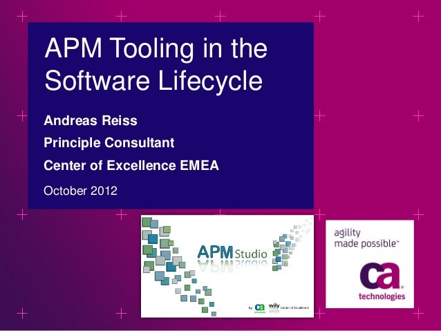 APM Tooling in theSoftware LifecycleAndreas ReissPrinciple ConsultantCenter of Excellence EMEAOctober 2012