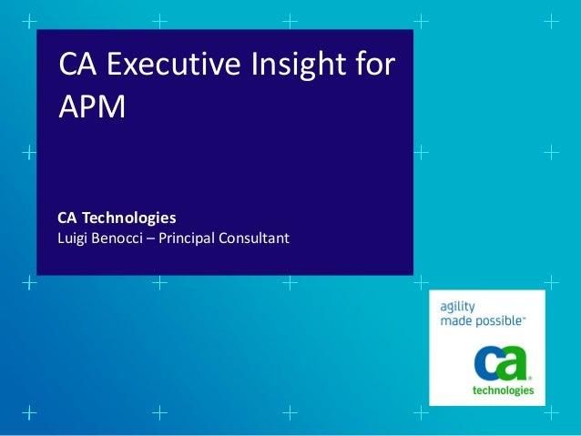 CA Executive Insight forAPMCA TechnologiesLuigi Benocci – Principal Consultant
