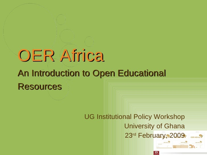 Introducing OER Africa and OER Licensing