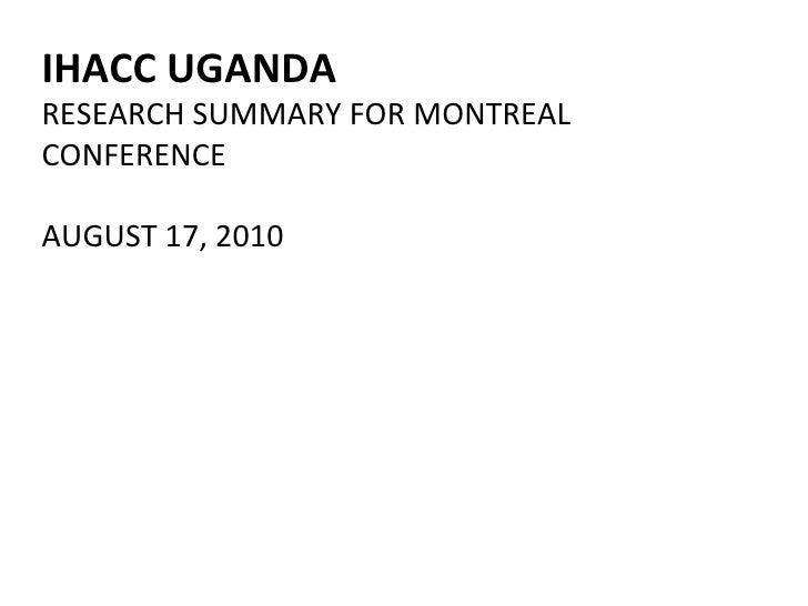 Uganda Status Report