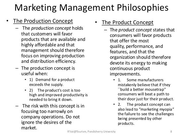 the marketing concept and philosophy marketing essay Free essay: question 1 identify three key characteristics of the marketing concept 'marketing concept is a philosophy that an organisation should try to.