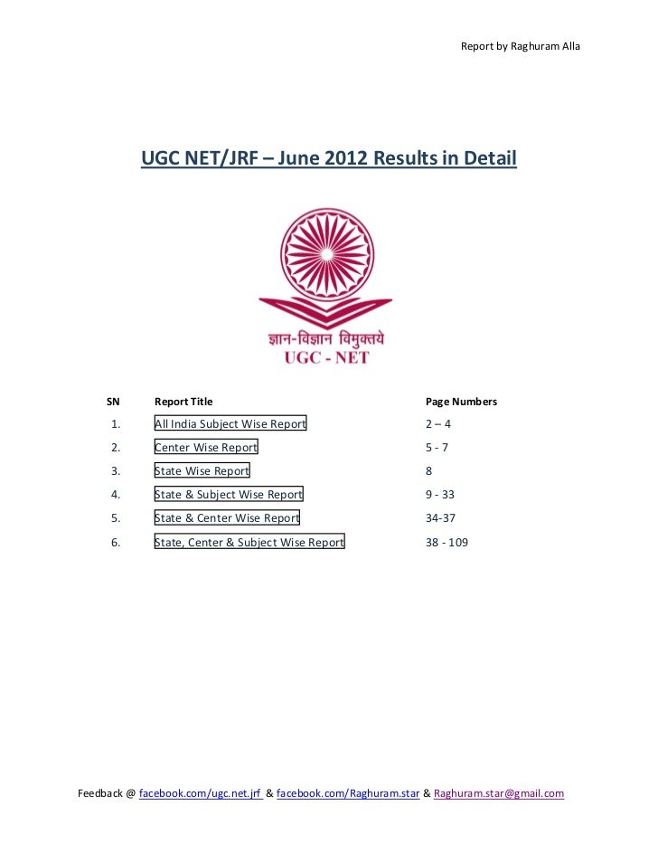 UGC NET JRF June 2012 results in detailed report