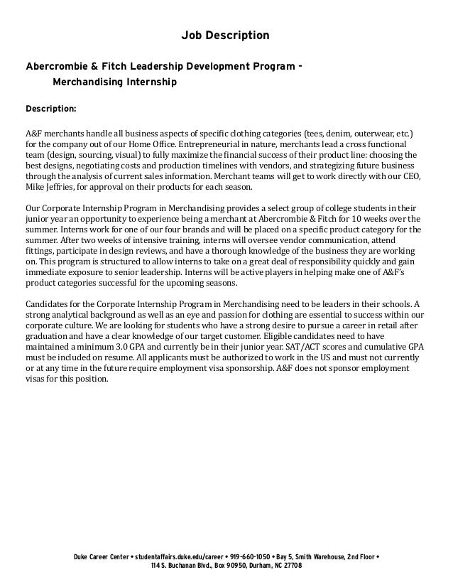 Undergraduate Student Cover Letter Example: Abercrombie & Fitch