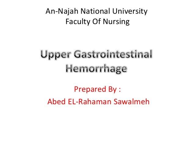 An-Najah National University    Faculty Of Nursing       Prepared By :Abed EL-Rahaman Sawalmeh