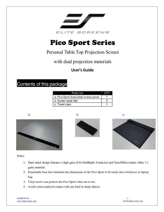 Pico Sport Series Personal Table Top Projection Screen with dual projection materials User's Guide  Contents of this packa...