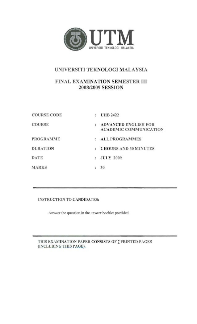 UHB2422 / ULAB2112 - Final exam paper