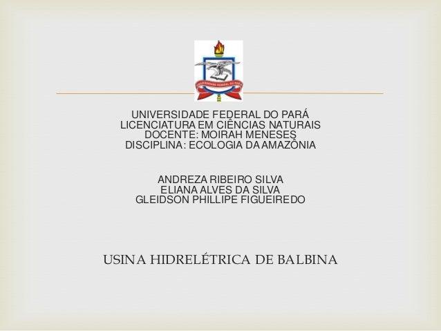 UNIVERSIDADE FEDERAL DO PARÁLICENCIATURA EM CIÊNCIAS NATURAISDOCENTE: MOIRAH MENESESDISCIPLINA: ECOLOGIA DA AMAZÔNIAANDRE...