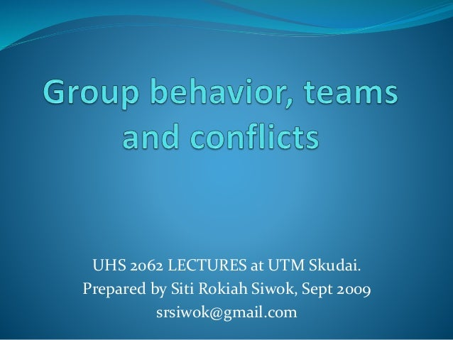 Uhs 2062 Group Behaviours, Teams And Conflicts