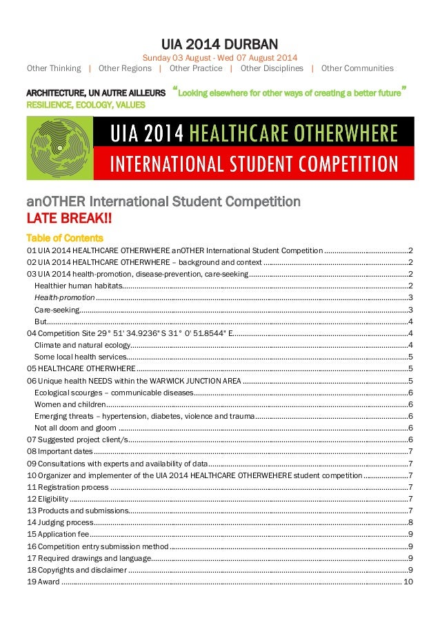 UIA 2014 DURBAN Sunday 03 August - Wed 07 August 2014 Other Thinking | Other Regions | Other Practice | Other Disciplines ...