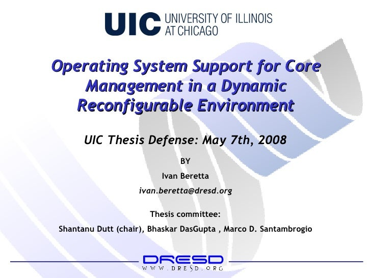 Operating System Support for Core Management in a Dynamic Reconfigurable Environment BY Ivan Beretta [email_address] Thesi...