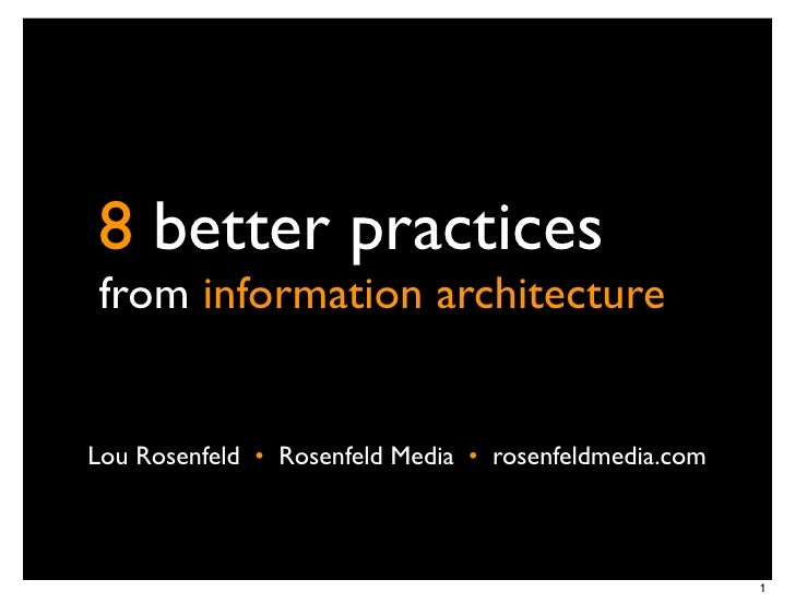 8 better practices from information architecture