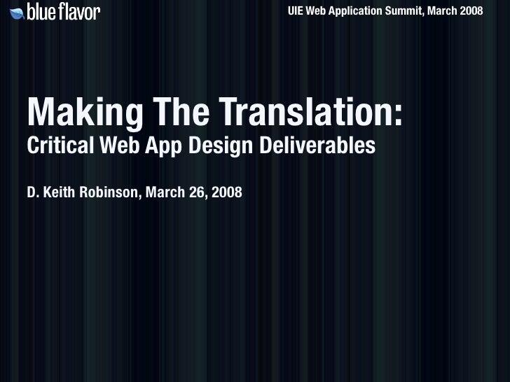 Making The Translation: Critical Web App Design Deliverables