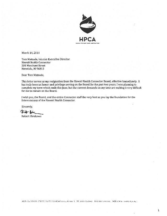 Hawaii Board Resignations 3-1-14 to 7-11-14