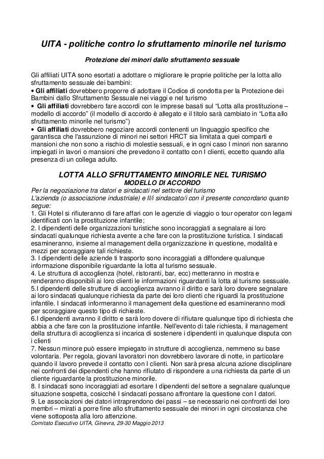 UITA - politiche contro lo sfruttamento minorile nel turismoProtezione dei minori dallo sfruttamento sessualeGli affiliati...