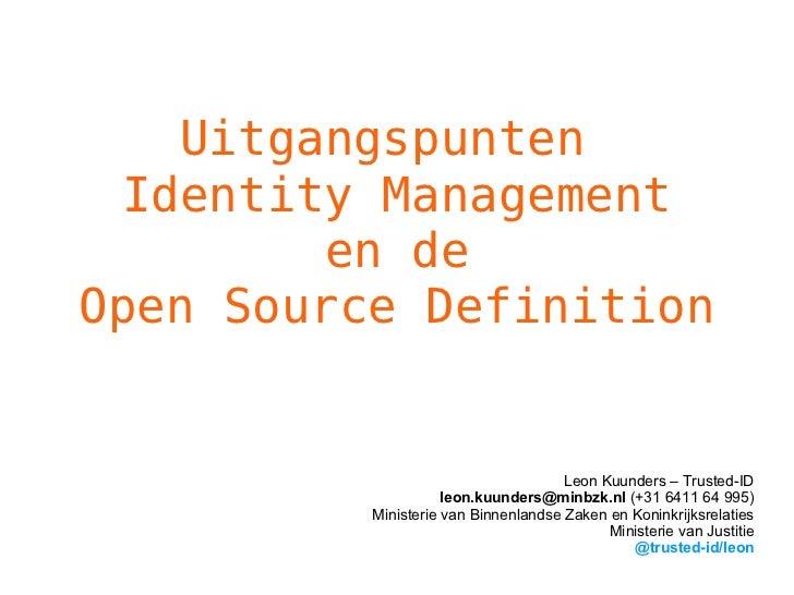 Uitgangspunten Identity Management