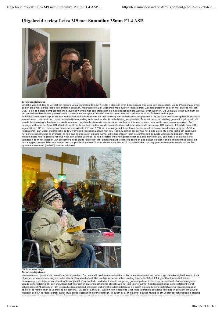 Uitgebreid review Leica M9 met summilux 35mm f1.4 asp.