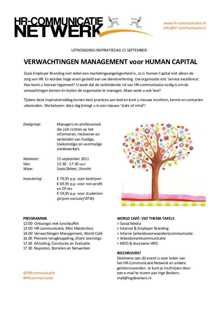 VERWACHTINGEN MANAGEMENT voor HUMAN CAPITAL, 15 September