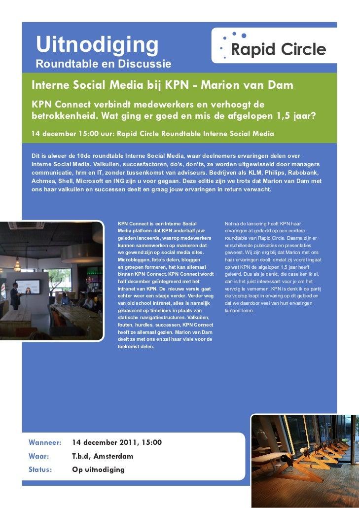 Uitnodiging  Roundtable en DiscussieInterne Social Media bij KPN - Marion van DamKPN Connect verbindt medewerkers en verho...
