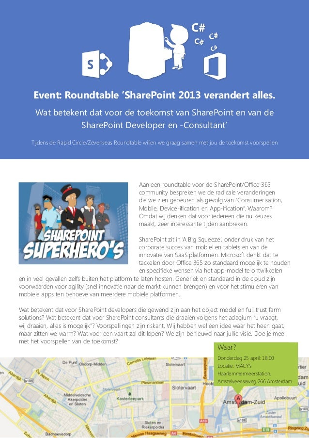 Uitnodiging roundtable Rapid Circle/Zevenseas. SharePoint 2013 verandert alles. Don't become a SharePoint Dinosaur
