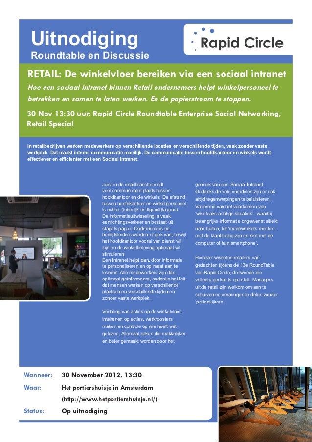 Uitnodiging Roundtable Sociaal Intranet Retail 30 november 2012 - Rapid Circle