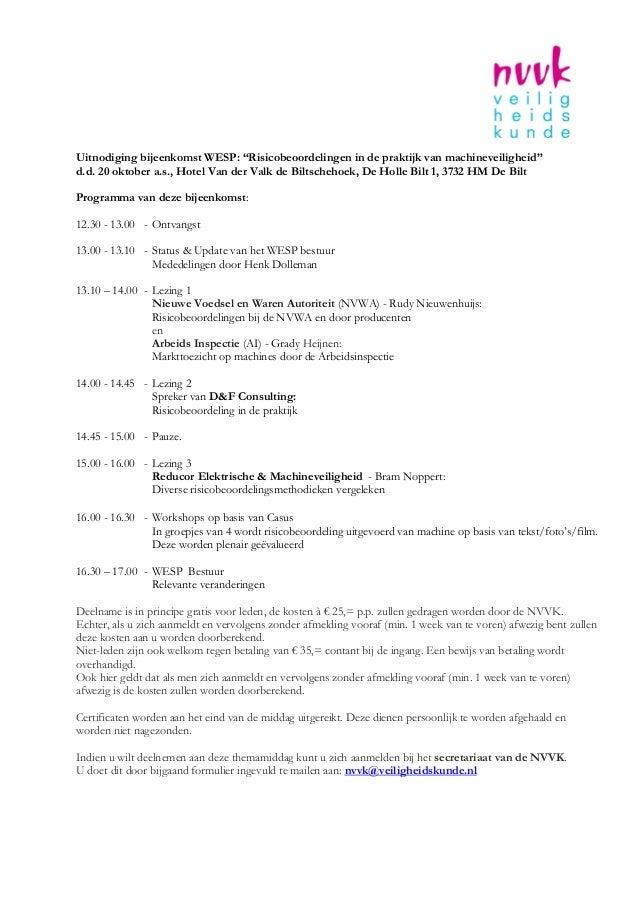 """Uitnodiging bijeenkomst WESP: """"Risicobeoordelingen in de praktijk van machineveiligheid""""d.d. 20 oktober a.s., Hotel Van de..."""