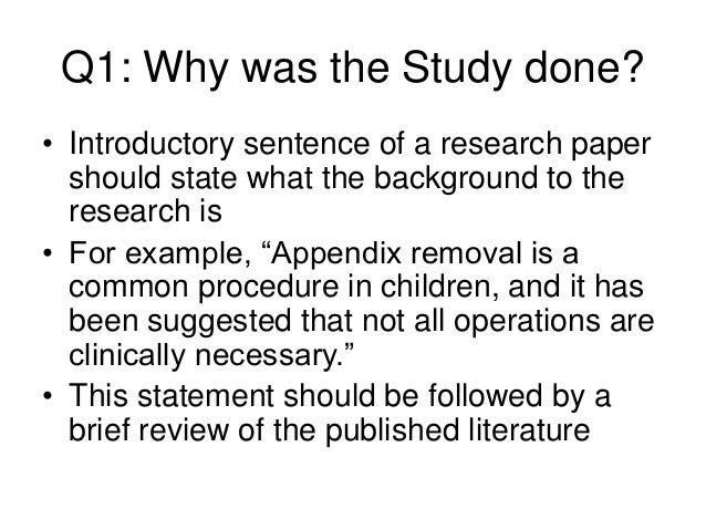 Background of a research paper