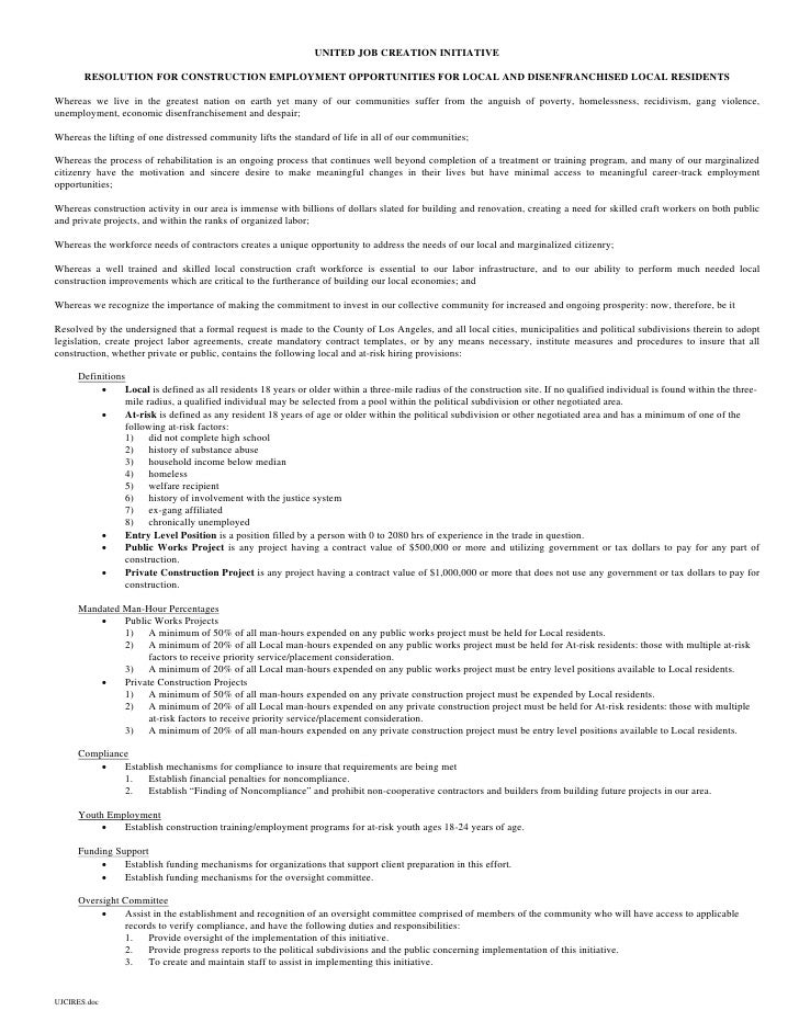 UNITED JOB CREATION INITIATIVE         RESOLUTION FOR CONSTRUCTION EMPLOYMENT OPPORTUNITIES FOR LOCAL AND DISENFRANCHISED ...