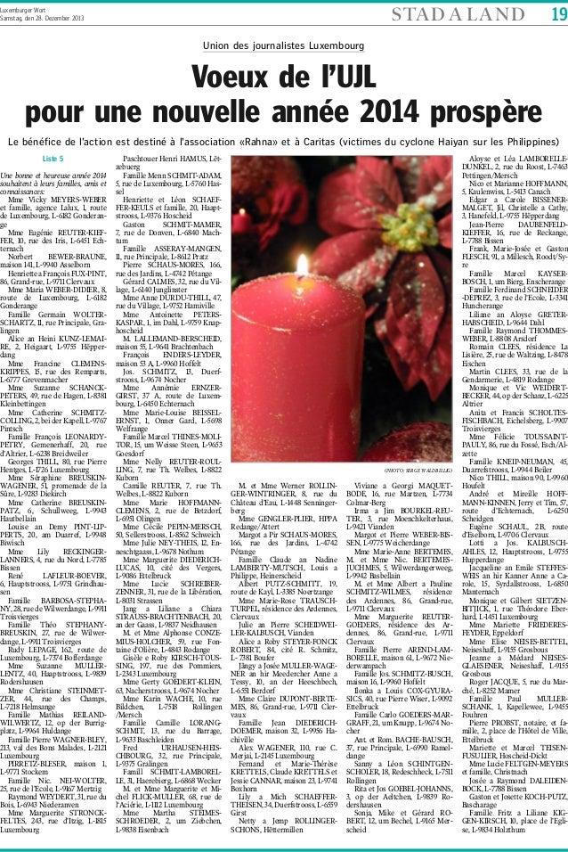 STA D A L A N D  Luxemburger Wort Samstag, den 28. Dezember 2013  19  Union des journalistes Luxembourg  Voeux de l'UJL po...