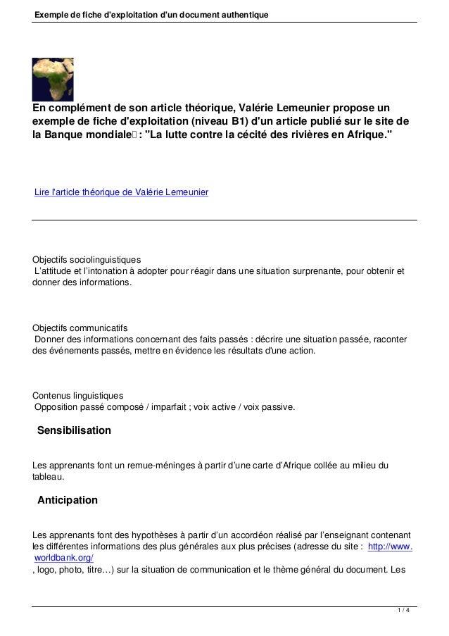Exemple de fiche d'exploitation d'un document authentique En complément de son article théorique, Valérie Lemeunier propos...