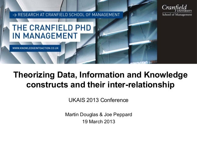 © Cranfield University 2012 Theorizing Data, Information and Knowledge constructs and their inter-relationship UKAIS 2013 ...