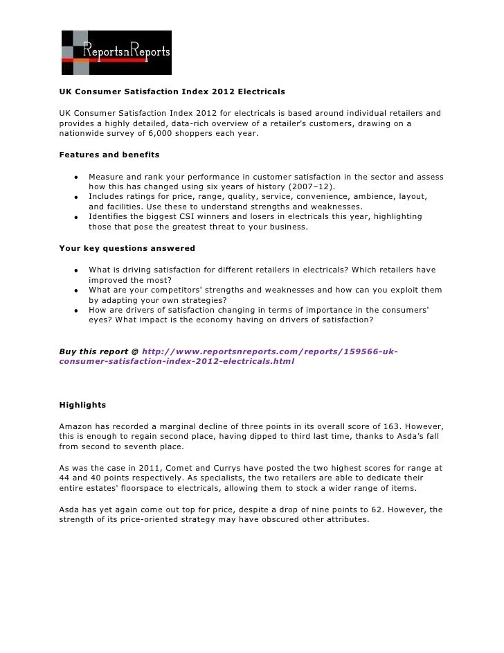 UK Consumer Satisfaction Index 2012 ElectricalsUK Consumer Satisfaction Index 2012 for electricals is based around individ...