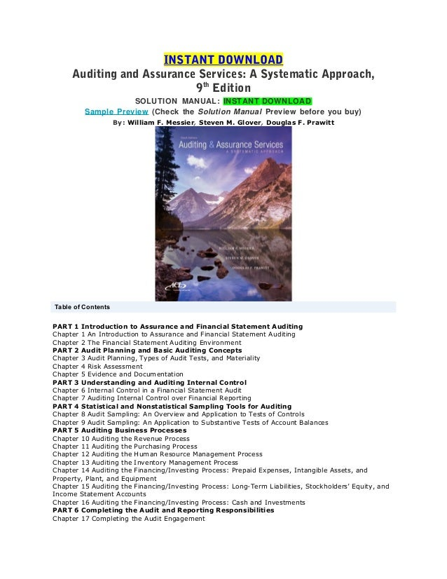 solution to auditing and assurance service Solution manual for auditing and assurance services an integrated approach 13th edition by arens.