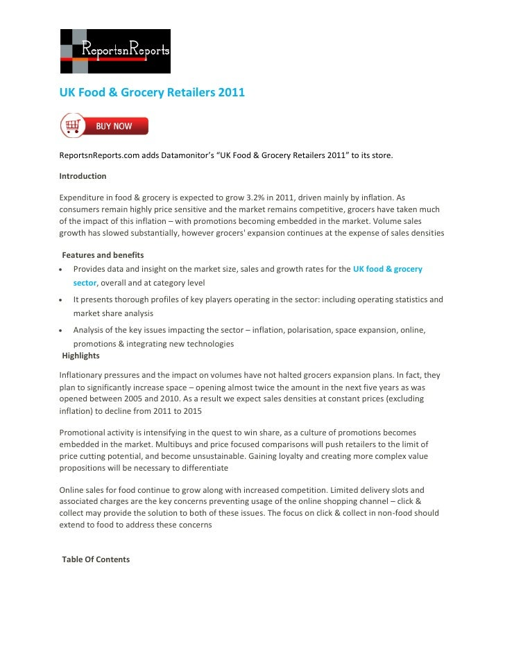 "UK Food & Grocery Retailers 2011ReportsnReports.com adds Datamonitor's ""UK Food & Grocery Retailers 2011"" to its store.Int..."
