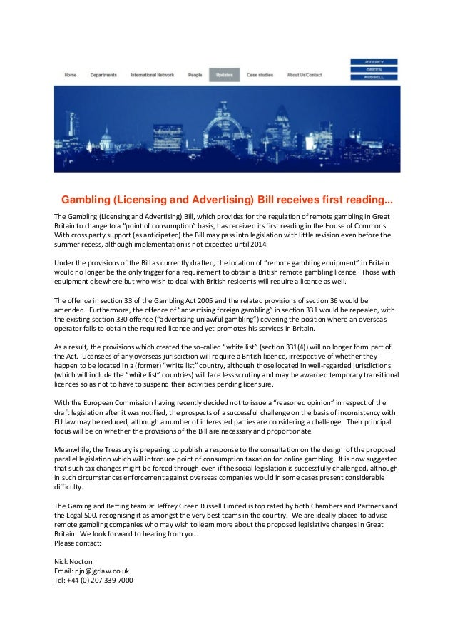 Gambling (Licensing and Advertising) Bill receives first reading...The Gambling (Licensing and Advertising) Bill, which pr...