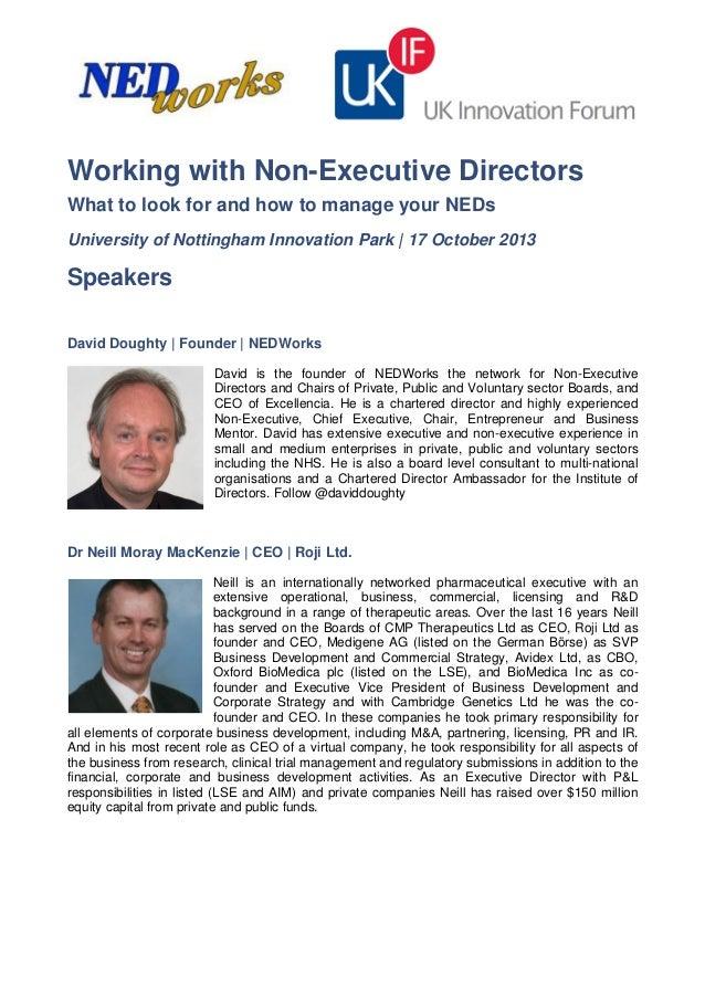 Ukif Workshop: Working with Non-Executive Directors 17 October 2013 Speaker Profiles
