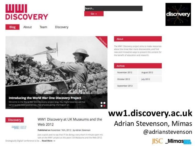 WW1 Discovery Open Mic Talk