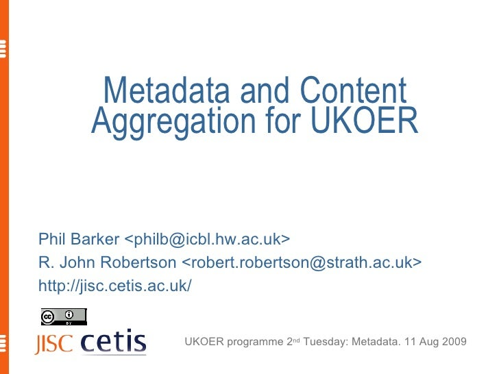 Metadata and Content Aggregation for UKOER